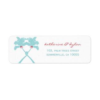 Knot Palm Trees Beach Tropical Wedding Modern Chic Return Address Label
