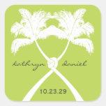 Knot Palm Trees Beach Tropical Wedding Modern Chic Square Sticker