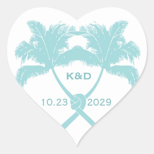 Knot Palm Trees Beach Tropical Wedding Modern Chic Heart Stickers