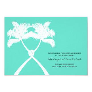 Knot Palm Trees Beach Tropical Wedding Reception Card