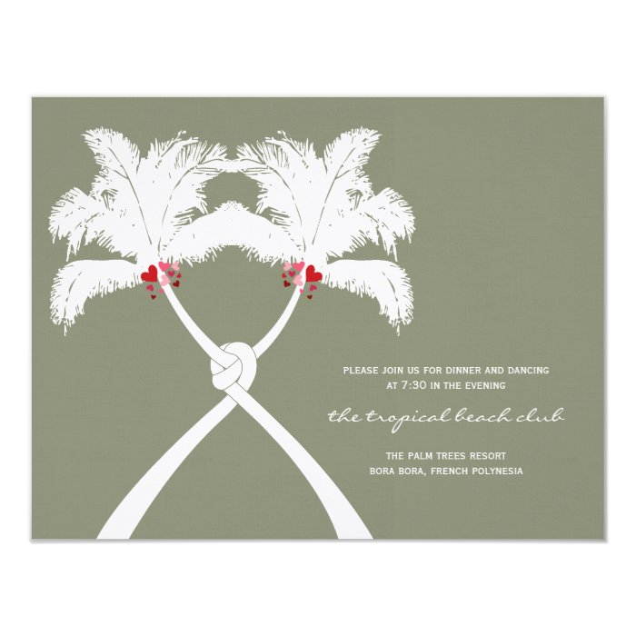Knot Palm Trees Tropical Beach Wedding Reception Card