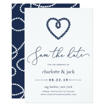 Beach Themed Knotted Heart Save the Date Card