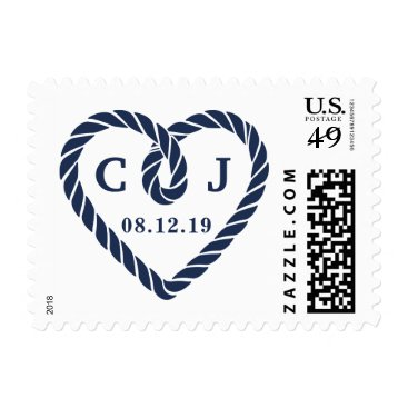 Beach Themed Knotted Heart Wedding Monogram Postage