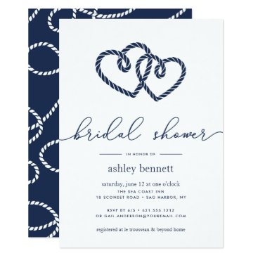 Beach Themed Knotted Hearts Bridal Shower Invitation