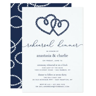 Beach Themed Knotted Hearts Ceremony Rehearsal & Dinner Invite