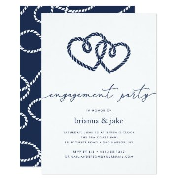 Beach Themed Knotted Hearts Engagement Party Invitation