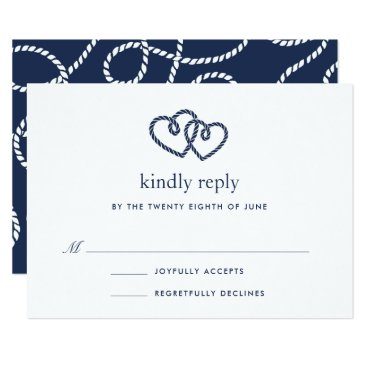 Beach Themed Knotted Hearts RSVP Card