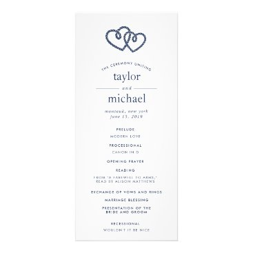 Beach Themed Knotted Hearts Wedding Ceremony Program