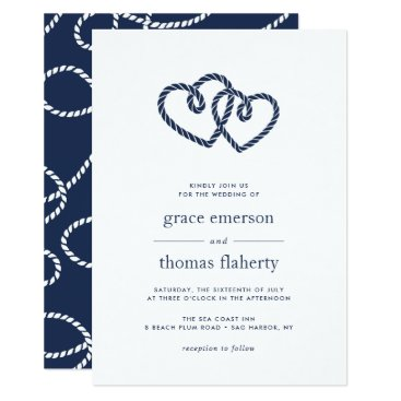 Beach Themed Knotted Hearts Wedding Invitation