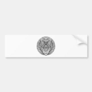 Knotted Mandala Owl Black and White Bumper Sticker