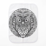 Knotted Mandala Owl Black and White Burp Cloth