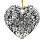 Knotted Mandala Owl Black and White Ceramic Ornament