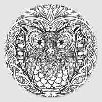 Knotted Mandala Owl Black and White Classic Round Sticker