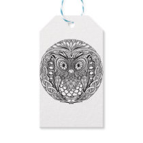 Knotted Mandala Owl Black and White Gift Tags