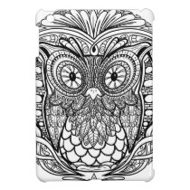Knotted Mandala Owl Black and White iPad Mini Cases