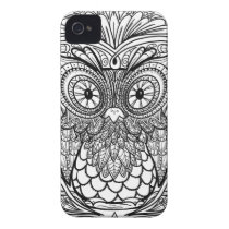 Knotted Mandala Owl Black and White iPhone 4 Cover