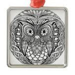 Knotted Mandala Owl Black and White Metal Ornament