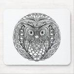 Knotted Mandala Owl Black and White Mouse Pad