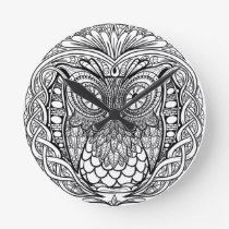Knotted Mandala Owl Black and White Round Clock