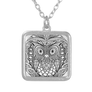 Knotted Mandala Owl Black and White Silver Plated Necklace