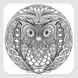 Knotted Mandala Owl Black and White Square Sticker