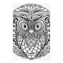 Knotted Mandala Owl Black and White Stationery