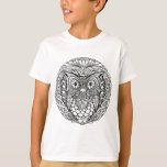 Knotted Mandala Owl Black and White T-Shirt