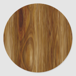 Knotted Oak Woodgrain Look Classic Round Sticker