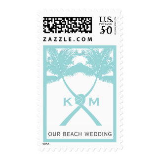 Knotted Palm Trees Beach Summer Luau Wedding Stamp