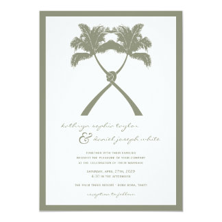 Knotted Palm Trees Tropical Beach Wedding Invite
