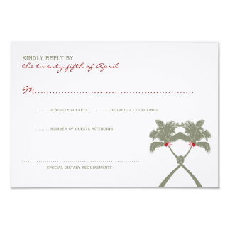Knotted Palm Trees Tropical Beach Wedding RSVP Card