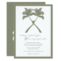 Knotted Palm Trees Tropical Destination Wedding Invitation