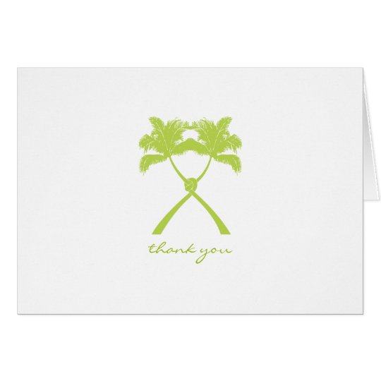 Knotted Palm Trees Tropical Wedding Thank You Card