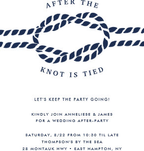 After party invitations zazzle knotted wedding after party invitation stopboris