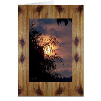 Knotty Cedar Boards & Sunrise Willow Silhouette Greeting Card