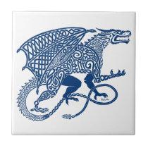 Knotwork Blue Dragon Ceramic Tile