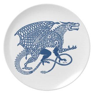 Knotwork Blue Dragon Party Plates