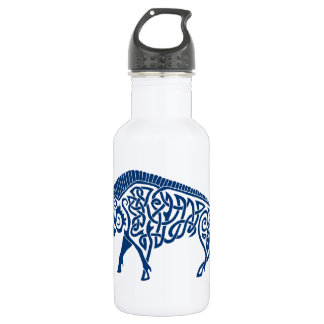 Knotwork Boar, Blue 18oz Water Bottle
