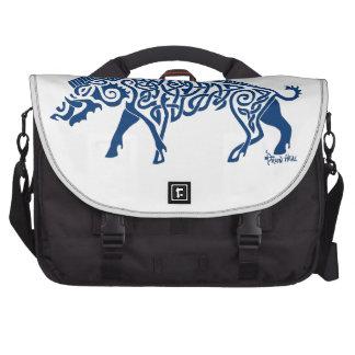 Knotwork Boar, Blue Laptop Bag