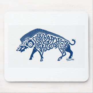 Knotwork Boar, Blue Mouse Pad