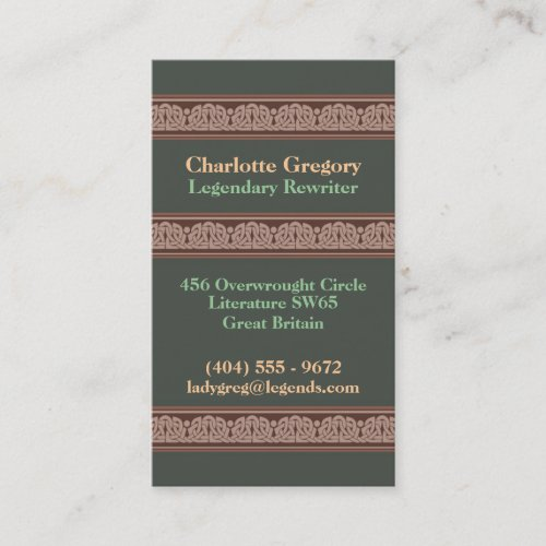 Knotwork Border Business Cards, Style A