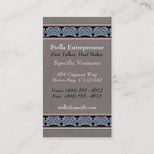 Knotwork Border Business Cards, Style B