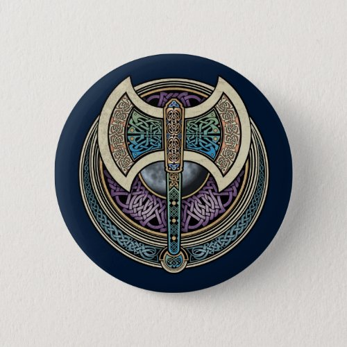 Knotwork Labrys Round Button