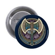 Knotwork Labrys Round Button