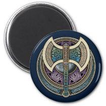 Knotwork Labrys Round Magnet