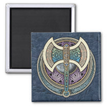 Knotwork Labrys Square Magnet