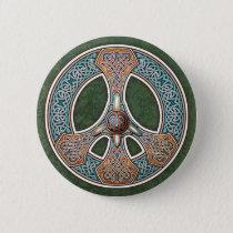Knotwork Peace Sign Button