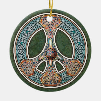Knotwork Peace Sign Pendant/Ornament Double-Sided Ceramic Round Christmas Ornament