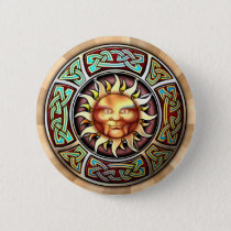 Knotwork Sun Face Round Button