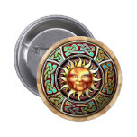 Knotwork Sun Face Round Button